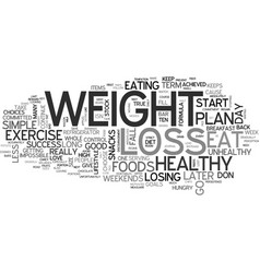 a weight loss plan for success text word cloud vector image