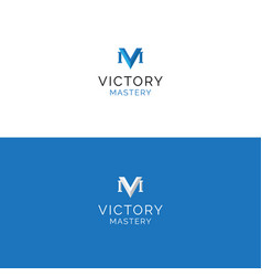 abstract v and m letters minimalistic logo vector image