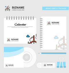 air turbine logo calendar template cd cover diary vector image