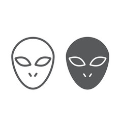 alien line and glyph icon space and character vector image