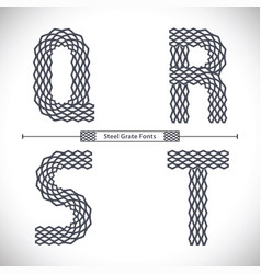 alphabet steel grate style in a set qrst vector image