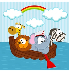 animals in the boat vector image