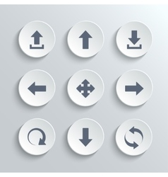 Arrows icon set - white round buttons vector image