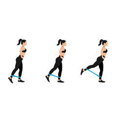athletic woman doing exercise with resistance band vector image