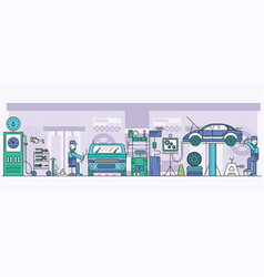 auto service center interior with tools mechanics vector image