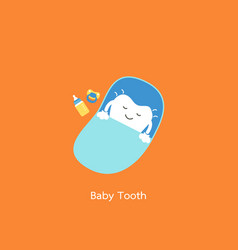 baby tooth sleep on blue bed - first teeth concept vector image