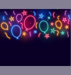 Balloons stars and confetti celebration birthday vector