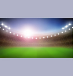 Baseball stadium with glow lamps in night vector