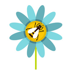 Bee on flower icon flat style vector