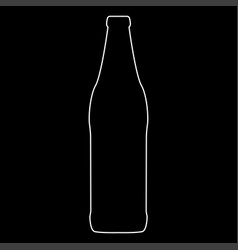 Beer bottle white color path icon vector
