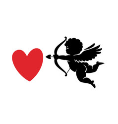 black silhouette funny cute cupid aiming a bow vector image