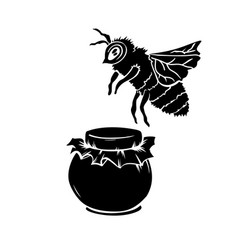Black silhouette of bee and honey glass jar vector