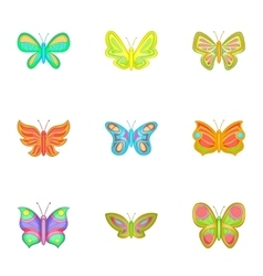 Brightly colored butterfly icons set cartoon style vector