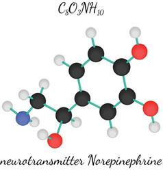 C8O3NH10 Norepinephrine molecule vector image