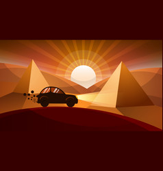 car road cartoon landscape vector image