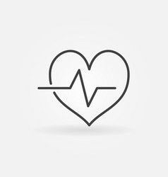 Cardiac cycle outline icon heartbeat line vector