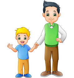 cartoon boy with his father holding hands together vector image