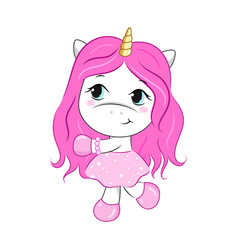 Cartoon unicorn girl vector