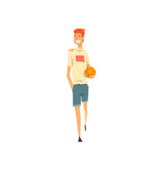 cheerful young man in casual clothes with ball vector image