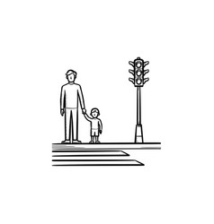 Child and parent crossing a sidewalk sketch icon vector