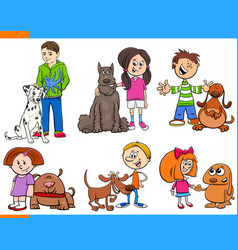 children with dogs cartoon collection vector image