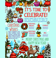 Christmas and new year holiday card with greetings vector
