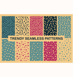 collection colorful seamless memphis patterns vector image