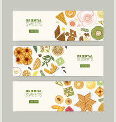 Collection web banner templates with oriental vector
