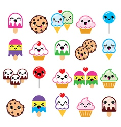 Cute Kawaii food characters - cupcake ice-cream vector image