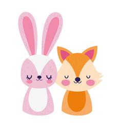 cute little rabbit and fox cartoon design vector image