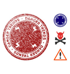 danger trends seal with scratched effect vector image
