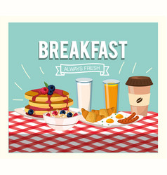 delicious pancakes with orange juice and cereal vector image