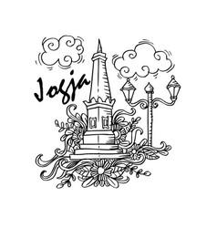 doodle of yogyakarta city of indonesia vector image
