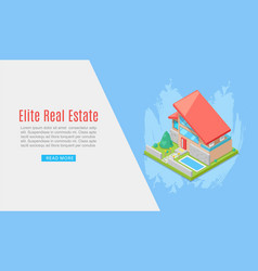 Elite house or cottage for rent or sale in flat vector
