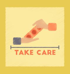 Flat shading style icon hand condoms vector