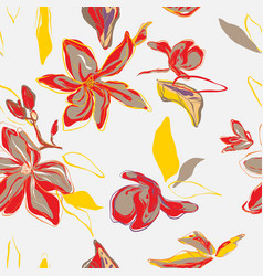 floral palm leaves and flowers in red yellow vector image