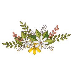 Flowers crown floral design with leaves vector