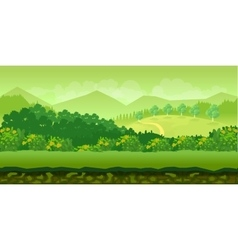 Forest and hills game background 2d application vector