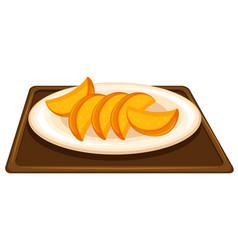 Fruit on dish vector