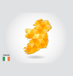 geometric polygonal style map of ireland low poly vector image
