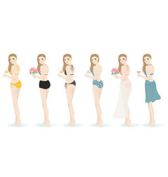 girls in different swimsuit for summer party vector image