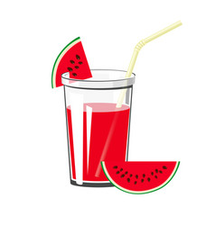 glass watermelon juice vector image