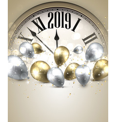 gold 2019 new year background with clock greeting vector image