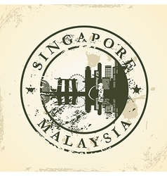 Grunge rubber stamp with Singapore Malaysia vector