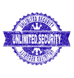 Grunge textured unlimited security stamp seal with vector
