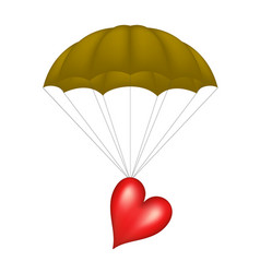 Heart at brown parachute vector
