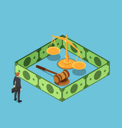 Isometric businessman standing with justice scale vector