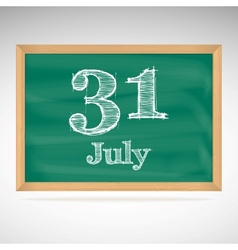 July 31 day calendar school board date vector