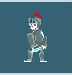 Knight skeleton in armor and helmet dead man vector
