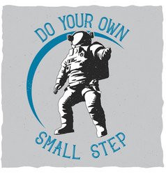label design with of astronaut vector image